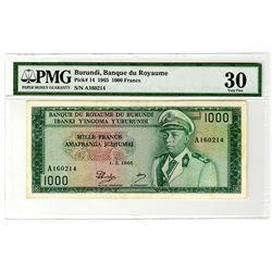 Banque du Royaume Du Burundi. 1965. Issued Banknote.