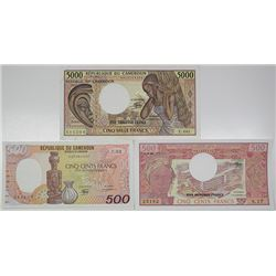 Banque des Etats de l'Afrique Centrale. 1983-1986. Lot of 3 Issued Notes.