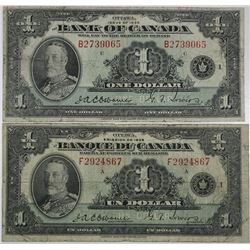 "Bank of Canada. 1935. Lot of 2 Issued Notes, ""French & English"" Versions."