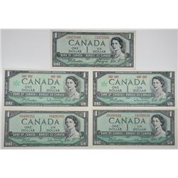 Bank of Canada. 1954-1967. Lot of 5 Issued Notes.