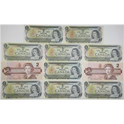 Bank of Canada. 1973-1986. Lot of 17 Issued Notes.