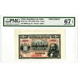 Republica de Chile. ND (1898-1919). Specimen Banknote.
