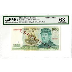 Banco Central de Chile. 1978-1980. Specimen Banknote.