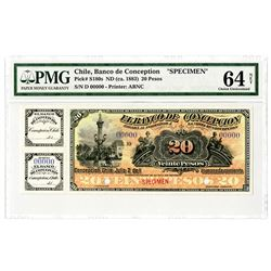 Banco de Conception. ND (ca. 1883) Specimen Banknote.