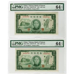 Bank of Taiwan. 1941. Pair of Issued Banknotes.