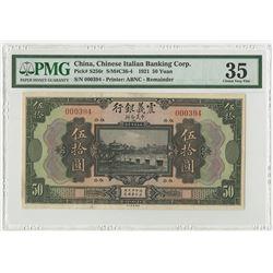 Chinese Italian Banking Corp., 1921 Remainder Banknote.