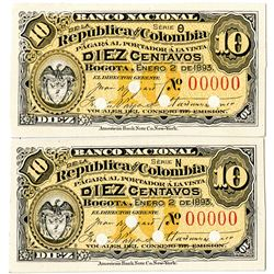 Banco Nacional De La Republica De  Colombia, 1893 Proof banknote Pair.