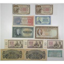 Narodna Banka Ceskoslovenska & Other Issuers. 1926-1960. Lot of 12 Issued Notes.