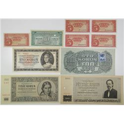 Narodna Banka Ceskoslovenska & Other Issuers. 1944-1945. Lot of 10 Specimen & Issued Notes.