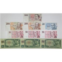 Ceka Narodni Banka & Other Issuers. 1961-1997. Lot of 10 Issued Notes.