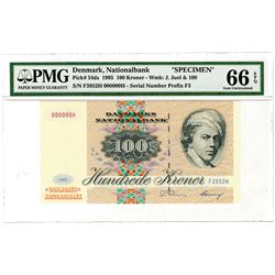 National Bank of Denmark. 1995. Specimen Banknote.
