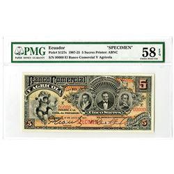 Banco Comercial Y Agricola. 1917 Specimen Banknote.