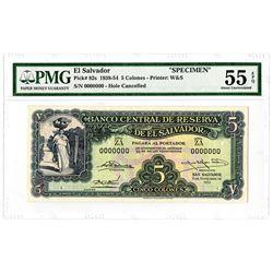 Banco Central de Reserva de El Salvador, 1952 Specimen Banknote.