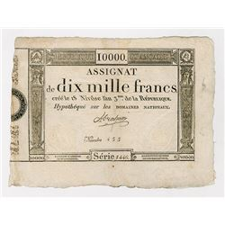 Republique Francais, 1795 Franc Issue, Black Printing.