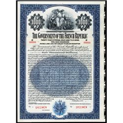 Government of the French Republic 1921 Specimen Bond.