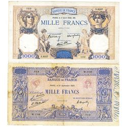 Banque de France. 1923-1940. Quartet of Issued Banknotes.