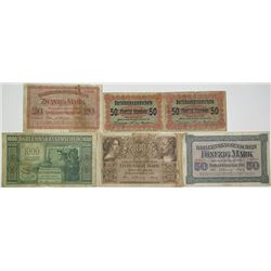 Darlehnskasse Ost. 1916-1918. Lot of 6 Issued Notes.