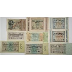 Reichsbankdirectorium. 1922-1924. Lot of 9 Issued Notes.