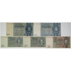Reichsbankdirectorium. 1929-1935. Lot of 5 Issued Notes.