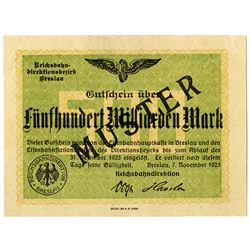 Reichsbahndirection. 1923. Specimen Regional Railroads Banknote.
