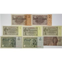 Deutsche Rentenbank. 1926-1937. Lot of 8 Issued Notes.