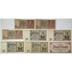 Deutsche Reichsbank. 1939-1945. Lot of 8 Issued Notes.