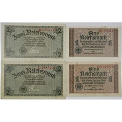 Reichskreditkassen. (1940-1945). Lot of 4 Issued Notes.