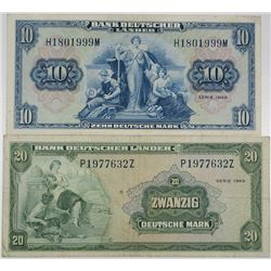 Bank Deutscher L_nder. 1949. Lot of 2 Issued Notes.