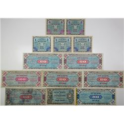 Allierte Milit_rbeh_rde. 1944. Lot of 13 Issued Notes.