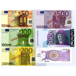 Germany. Printers Test Notes, ca. 1980-2000 For different EURO Designs and Denominations.