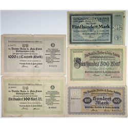 Germany. Badische Anilin & Soda = Fabrik, BASF, Group of 5 Notgeld Issues, 1922