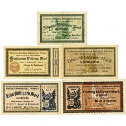 Germany. Doerr & Reinhart, Leatherwork Payment Coupons, 1923 Group of Issued Notgeld
