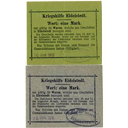 "Germany. Eidelstedt. 1915. Pair of ""War Aid"" Notgeld."