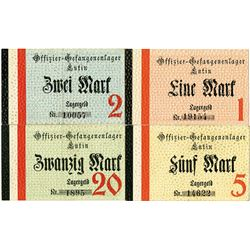 Germany. Lutin Officer POW Camp. ND (ca.1916-1917). Quartet of Notgeld.