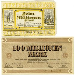 Germany. Notgeld, 1923 Issued Banknote Pair from Horde.