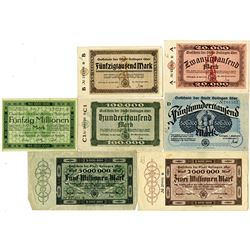 Germany. Stadt Solingen, Group of 7 Notgeld Issues, 1923