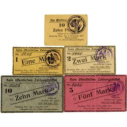 Germany. Strasburg Wpr. POW Camp. 1917. Quintet of Notgeld.