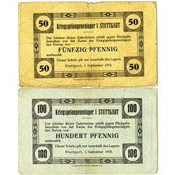 Germany. Stuttgart POW Camp. 1915. Pair of Issued Notgeld.
