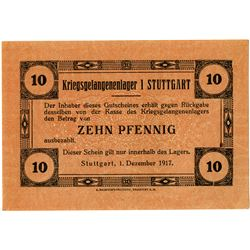 Germany. Stuttgart POW Camp. 1917. Issued Notgeld.