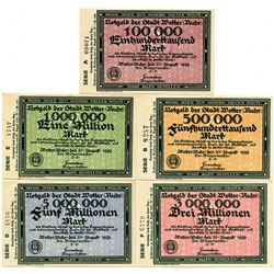 Germany. Wetter (Ruhr) Group of 4 Issued Notgeld, 1923