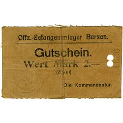 Germany. WWI Berxen Prison Camp, Cloth Note ca.1918-1920