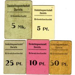 Germany, Notgeld Issues. 1920. Steinkohlengewerkschaft Charlotte; Erbreichschacht Assortment.