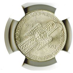 Federal Republic. 1952D. 5 Mark. Nurnberg Museum Commemorative. NGC graded MS 65.