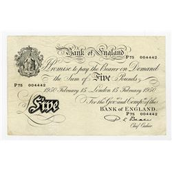 Bank of England, 1949 Issue (1950) Banknote.