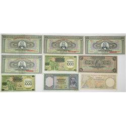 Bank of Greece. 1926-1939. Lot of 9 Issued Notes.