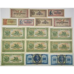 Bank of Greece. 1940-1950. Lot of 16 Issued Notes.