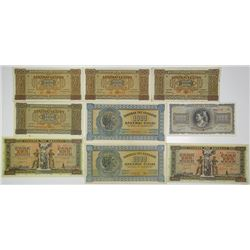 Bank of Greece. 1941-1942. Lot of 9 Issued Notes.