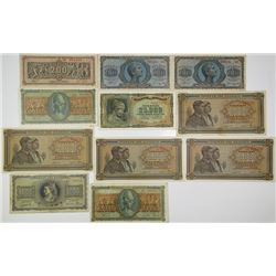 Bank of Greece. 1942-1944. Lot of 24 Issued Notes.