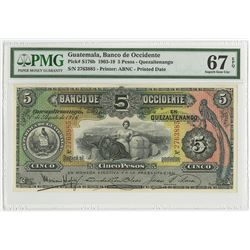 Banco de Occidente en Quetzaltenango, 1916 Finest Issued Banknote.