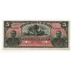 Republique d'Haiti, L.1908, Specimen Banknote.